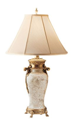 Brass 1-Light Lamp - Crackled Eggshell