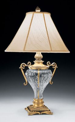 Antique Brass and Cut Crystal Lamp