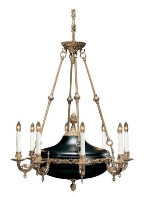 Hand-Crafted Empire Style 8-Light Chandelier - French Gold