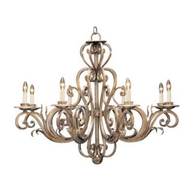 Hand-Crafted Wrought Iron 8-Light Chandelier - Venetian Silver Leaf