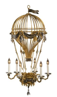 Hand-Crafted Wrought Iron 6-Light Chandelier - Antique Gold Leaf
