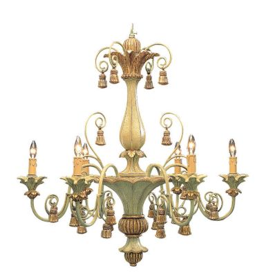 Hand-Crafted Carved Wood 6-Light Chandelier - Antique Pale Green/Gold Leaf