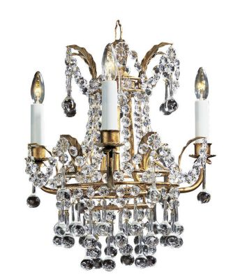 Hand-Crafted Crystal Empire Style 3-Light Chandelier