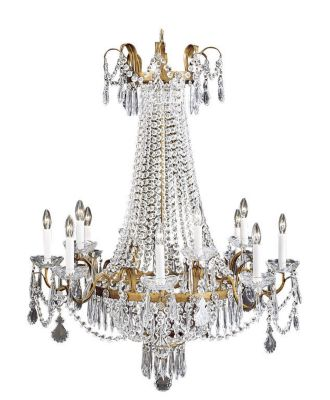 Hand-Crafted Empire Style Crystal 12-Light Chandelier