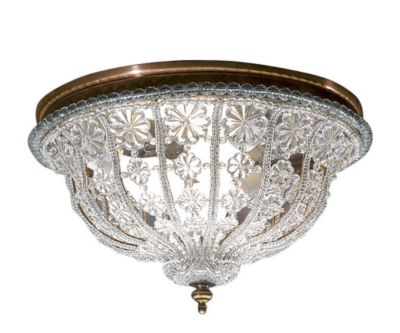 Hand-Crafted Crystal Round 3-Light Ceiling Light