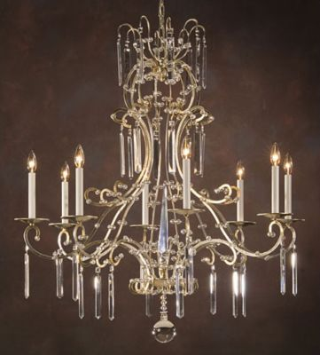 Hand-Crafted 8-Light Chandelier - Antique Silver Leaf