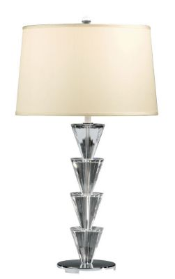 Solid Brass and Crystal Lacquered Silver-Plated Lamp