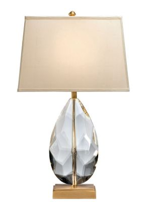 Antique Solid Crystal Lamp with Antique Brass Trim