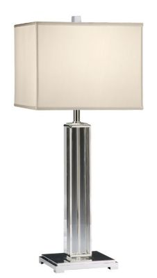 Solid Crystal and Lacquered Silver-Plated Lamp