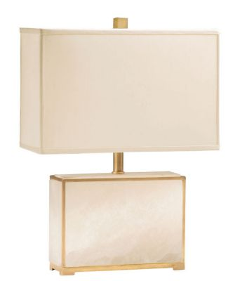 Antique Brass and Alabaster 2-Light Lamp