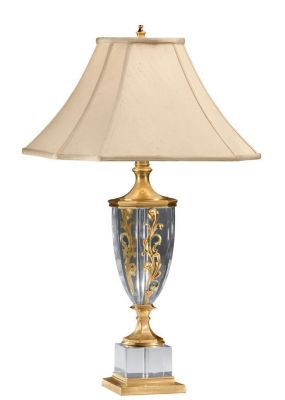 Solid Crystal and Antiqued Brass Lamp