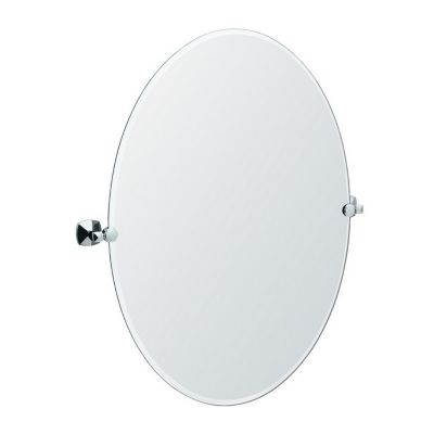 Jewel Large Oval Tilting Mirror with Brackets - Chrome