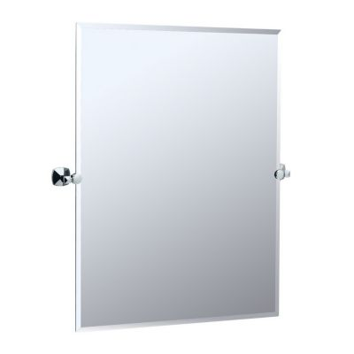 Jewel Rectangular Tilting Mirror with Brackets - Chrome