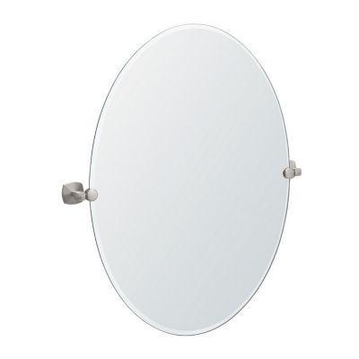 Jewel Large Tilting Oval Mirror with Brackets - Satin Nickel