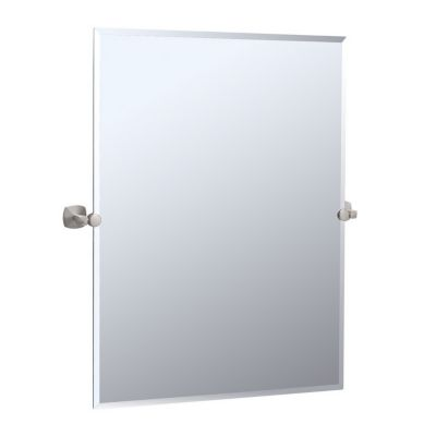 Jewel Rectangular Tilting Mirror with Brackets - Satin Nickel