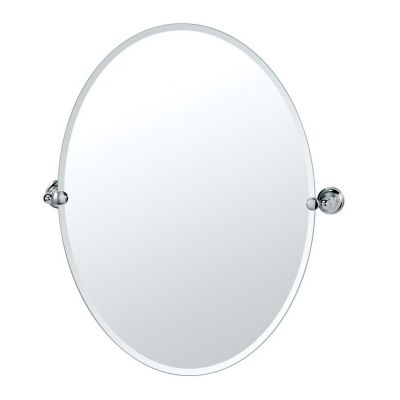 Tiara Large Oval Beveled Mirror & Brackets - Chrome