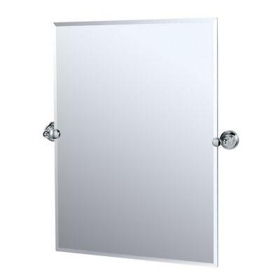 Tiara Rectangular Beveled Mirror & Brackets - Chrome