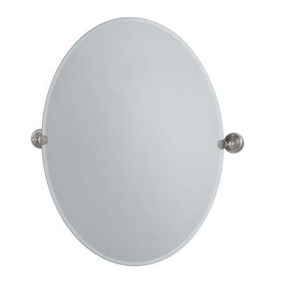 Tiara Large Oval Beveled Mirror & Brackets - Satin Nickel