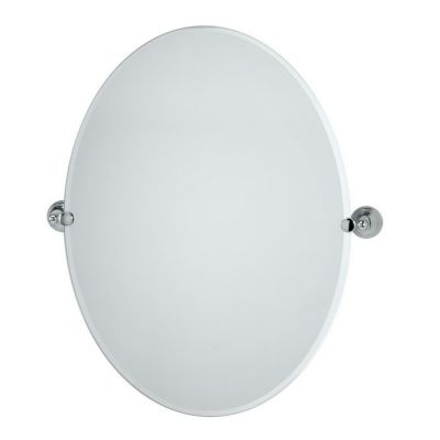 Charlotte Large Oval Tilting Mirror with Brackets - Chrome