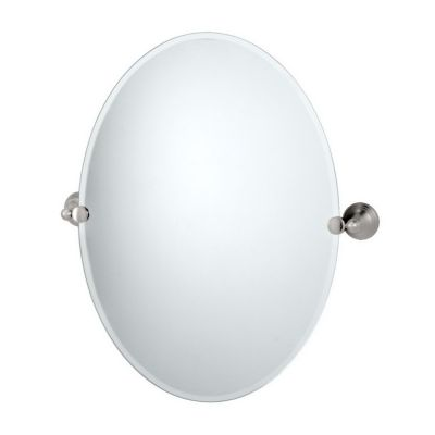 Charlotte Oval Tilting Mirror with Brackets - Satin Nickel