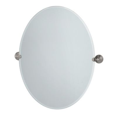 Charlotte Large Oval Tilting Mirror with Brackets - Satin Nickel