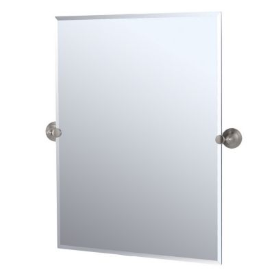 Charlotte Rectangular Tilting Mirror with Brackets - Satin Nickel