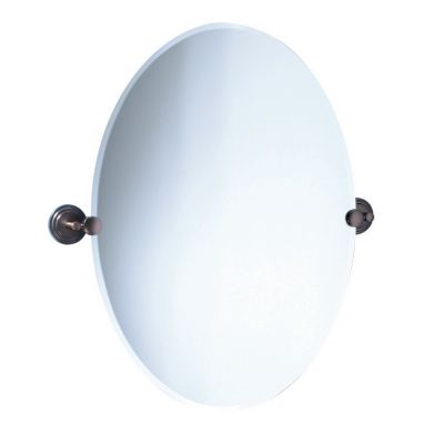 Marina Oval Beveled Mirror & Brackets - Bronze