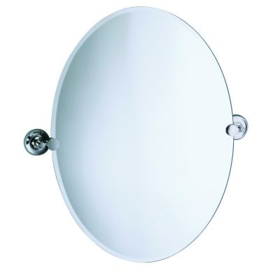 Designer II Oval Beveled Mirror & Brackets - Chrome