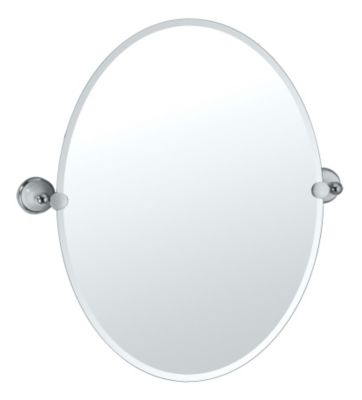 Franciscan Oval Tilting Mirror with Brackets - Chrome & Porcelain