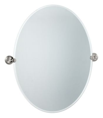 Marina Large Oval Beveled Mirror & Brackets - Satin Nickel