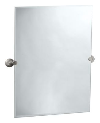 Marina Rectangular Beveled Mirror & Brackets - Satin Nickel