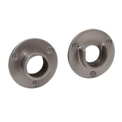 Shower Essential Shower Curtain Rod Wall Flanges - Pair - Satin Nickel