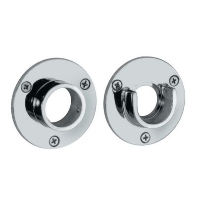 Shower Essential Shower Curtain Rod Wall Flanges  - Pair - Chrome