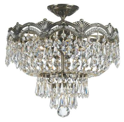 Majestic 3 Light Hand Cut Crystal Semi