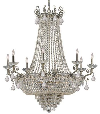 Majestic 20-Light Clear Crystal Brass Chandelier