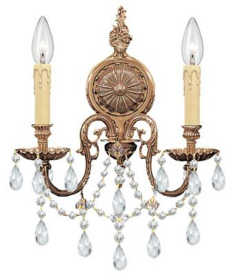 2 Light Crystal Olde Brass Cast Brass Wall Mount