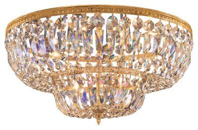 4-Light Clear Hand Cut Brass Ceiling Mount