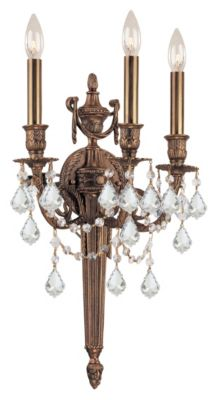 Arlington 3-Light Clear Crystal Matte Brass Cast Brass Wall Mount