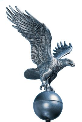 Medium Flagpole Eagle - Pewter/Silver