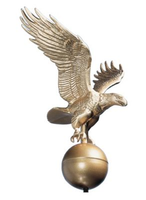 Medium Flagpole Eagle - Gold Bronze