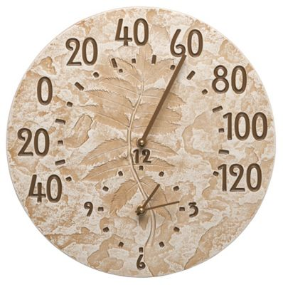 Minutes & Degrees™ Fossil Sumac Thermometer Clock - Weathered Limestone