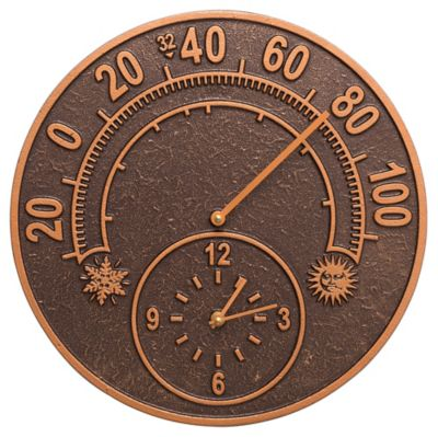 Minutes & Degrees™ Solstice Thermometer Clock - Antique Copper