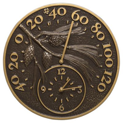 Minutes & Degrees™ Pinecone Thermometer Clock - French Bronze