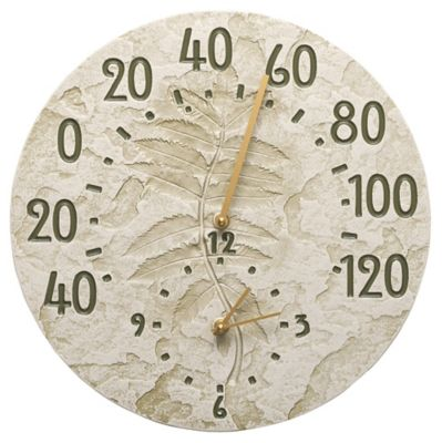 Minutes & Degrees™ Fossil Sumac Thermometer Clock - Moss Green