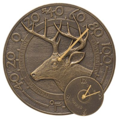 Outdoor Traditions™ Whitetail Thermometer Clock - French Bronze