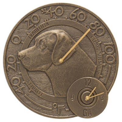 Outdoor Traditions™ Labrador Thermometer Clock - French Bronze