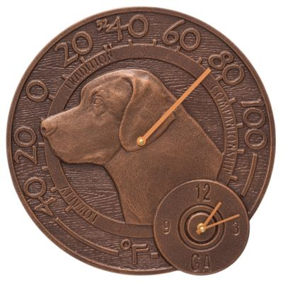 Outdoor Traditions™ Labrador Thermometer Clock - Antique Copper
