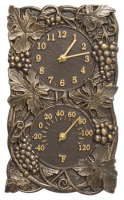 Minutes & Degrees™ Grapevine Clock/Thermometer Combo - French Bronze