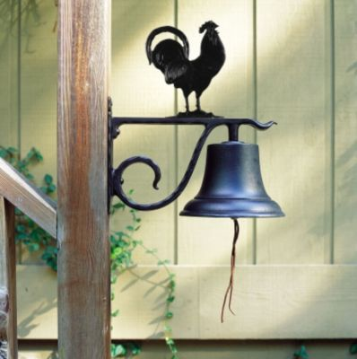 Large Country Bell with Rooster - Black