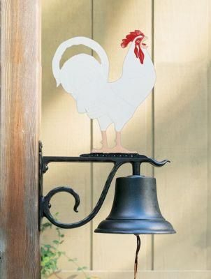 Large Country Bell with Rooster - Multi-Colored